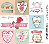 valentines day romantic cards... | Shutterstock . vector #364196243