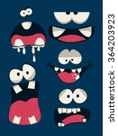 monsters faces vector set | Shutterstock .eps vector #364203923