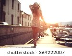 young woman in hat and cute... | Shutterstock . vector #364222007