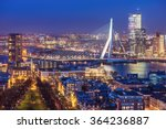 Rotterdam skyline with Erasmus bridge at twilight as seen from the Euromast tower, The Netherlands