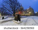Stock photo hannover germany january rathaus hannover in winter at evening 364258583