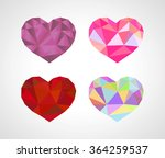 polygonal origami heart diamond ... | Shutterstock . vector #364259537