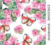 begonia flower  butterfly ... | Shutterstock . vector #364315613