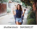 happy stylish hipster girl... | Shutterstock . vector #364368137