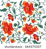 seamless floral pattern peonies.... | Shutterstock .eps vector #364375337