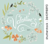 valentines day floral card | Shutterstock .eps vector #364398893