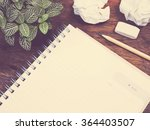 small plant   notepad and... | Shutterstock . vector #364403507