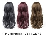 set of long curly  wigs on a... | Shutterstock . vector #364412843