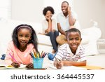happy kids using colouring... | Shutterstock . vector #364445537