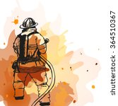 firefighter with a hose sign.... | Shutterstock .eps vector #364510367
