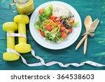 fresh salad  fruits with sport... | Shutterstock . vector #364538603