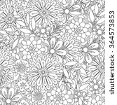 hand drawn floral seamless... | Shutterstock .eps vector #364573853