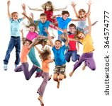 large group of happy cheerful... | Shutterstock . vector #364574777