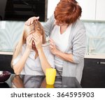 mother soothes sad daughter.... | Shutterstock . vector #364595903