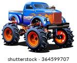 vector cartoon monster truck... | Shutterstock .eps vector #364599707