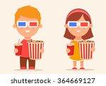 cute cartoon kids with popcorn...   Shutterstock .eps vector #364669127