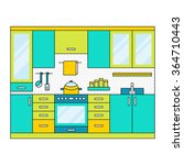 flat modern kitchen interior ...   Shutterstock .eps vector #364710443