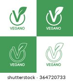 icons vegan food  set of badges ... | Shutterstock .eps vector #364720733