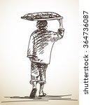 Sketch Of Walking Vendor...