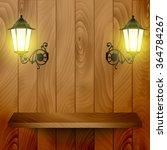 empty wooden shelve on the... | Shutterstock .eps vector #364784267