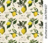 vector pattern with lemon... | Shutterstock .eps vector #364789607