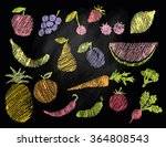 sketch of flat fruits and... | Shutterstock .eps vector #364808543
