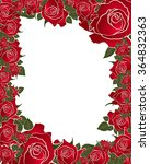 red rose frame with white... | Shutterstock . vector #364832363
