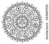 zodiac circle with horoscope... | Shutterstock .eps vector #364869503