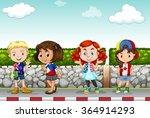 children standing along the...