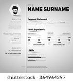 minimalist cv  resume template... | Shutterstock .eps vector #364964297