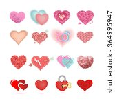 set of colored hearts in... | Shutterstock .eps vector #364995947
