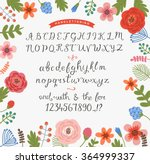 floral background with a set of ... | Shutterstock .eps vector #364999337