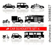 car silhouette icons set with... | Shutterstock . vector #365088827