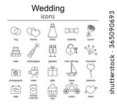 set of wedding icons. | Shutterstock .eps vector #365090693