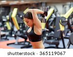 young woman flexing muscles... | Shutterstock . vector #365119067