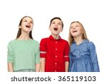 amazed boy and girls looking up | Shutterstock . vector #365119103