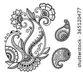 henna tattoo flower template... | Shutterstock .eps vector #365120477