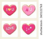 heart shapes cookies vector... | Shutterstock .eps vector #365122763