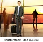 business man with suitcase in...