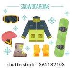 vector set of snowboarding... | Shutterstock .eps vector #365182103