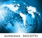 world map on a technological... | Shutterstock . vector #365210753