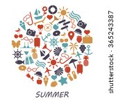 colored summer symbols on a... | Shutterstock .eps vector #365243387