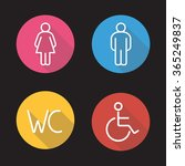 wc toilet entrance signs. flat... | Shutterstock .eps vector #365249837