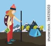 girls go hiking mountain tent... | Shutterstock .eps vector #365250203