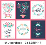 set love and romantic cards.... | Shutterstock .eps vector #365255447