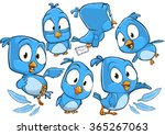 Very Adorable Blue Cartoon Bir...