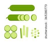 Fresh Cucumber  Cut  Sliced An...