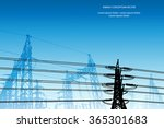 silhouette of high voltage...   Shutterstock .eps vector #365301683