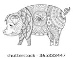 drawing zentangle pig for... | Shutterstock .eps vector #365333447