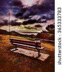 Small photo of Bench overlooking the sea at Alum Chine Bournemouth Dorset England UK